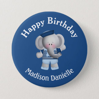 Badge Bouton personnalisé d'anniversaire d'éléphant de