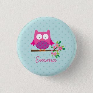 Badge Bouton personnalisé par hibou mignon rose