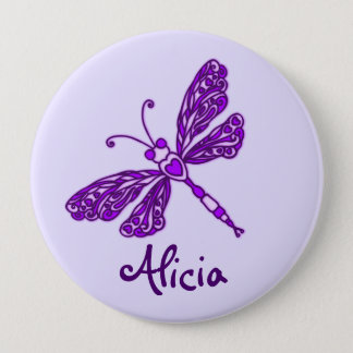 Badge Bouton pourpre stylisé de nom d'art de libellule