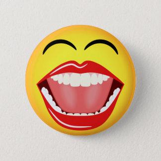 Badge Bouton rond fait sur commande drôle jaune souriant