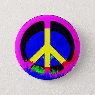 Badge Bouton rond psychédélique coloré de signe de paix