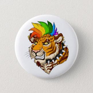 Badge Bouton rond standard de tigre de punk/Mohawk
