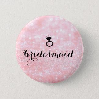 Badge Bouton - rose de Bling d'anneau de scintillement