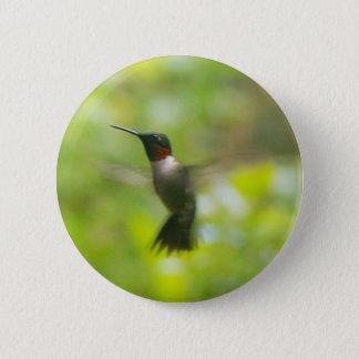 Badge Bouton rouge masculin de colibri de gorge