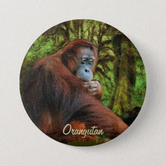 Badge Bouton sauvage d'art d'orang-outan et de primat de