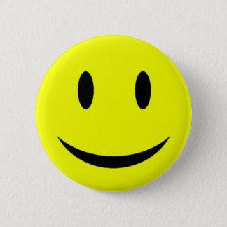 Badge Bouton souriant jaune de visage