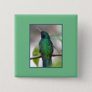 Badge Bouton vert de carré de colibri
