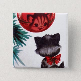 Badge Bouton vintage d'amusement de réflexion de chat de