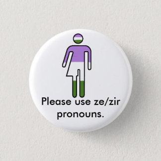 Badge Boutons de pronom de Genderqueer Ze/Zir