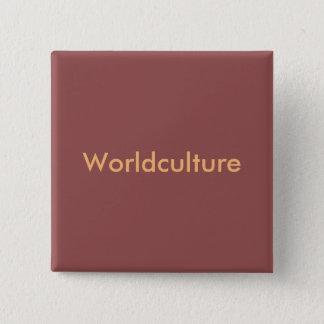 "Badge burgundy avec écriture orange ""Worldculture"""
