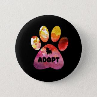 Badge Cadeaux d'amoureux des chiens. Adoptez. Patte de