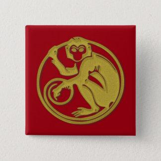 Badge Carré 5 Cm 2016 est l'année du singe - boutons