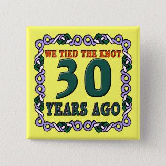 Badge Carré 5 Cm 30ème Boutons d'anniversaire de mariage