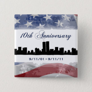 Badge Carré 5 Cm 9-11 dixièmes boutons de souvenir d'anniversaire