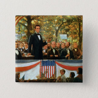 Badge Carré 5 Cm Abraham Lincoln et Stephen A. Douglas