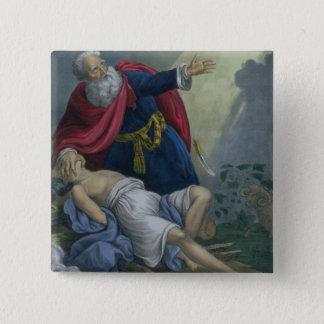 Badge Carré 5 Cm Abraham offrant vers le haut de son fils Isaac,
