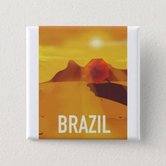 Badge Carré 5 Cm Affiche de voyage du Brésil