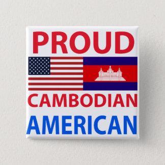 Badge Carré 5 Cm Américain cambodgien fier