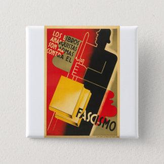 Badge Carré 5 Cm Anarchiste de guerre civile espagnole/affiche rare
