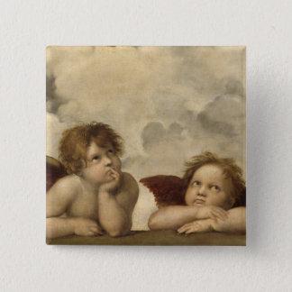 Badge Carré 5 Cm Anges de Sistine Madonna par Raphael