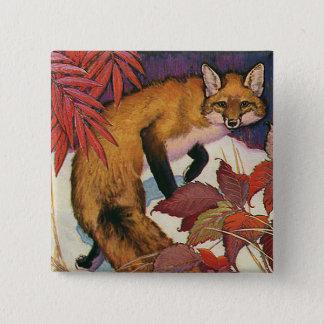 Badge Carré 5 Cm Animal sauvage rouge de Fox de créatures vintages
