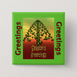 Badge Carré 5 Cm arbre 3D vert brillant