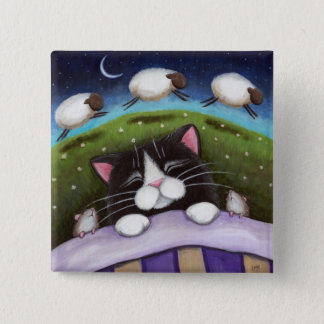 Badge Carré 5 Cm Art de chat et de souris d'imaginaire