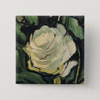 Badge Carré 5 Cm Art de cru de rose de roses blancs de Vincent van
