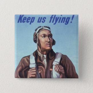 Badge Carré 5 Cm Aviateurs d'Afro-américain de WPA Tuskegee de 2ÈME