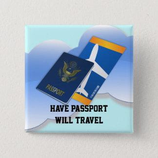 Badge Carré 5 Cm Ayez le passeport, voyagerez