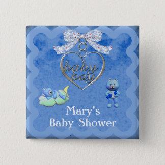 Badge Carré 5 Cm Baby shower de bleu de garçon de charme d'ours de