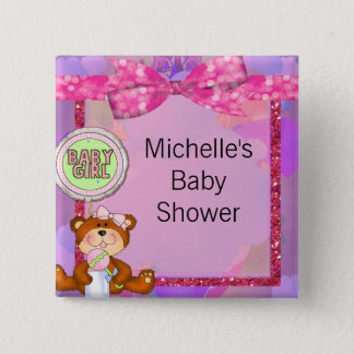 Badge Carré 5 Cm Baby shower d'étincelle de parties scintillantes