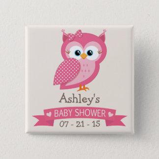 Badge Carré 5 Cm Baby shower rose et blanc de hibou de point de