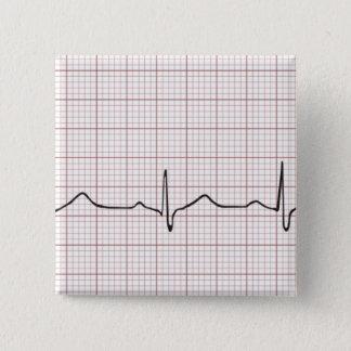Badge Carré 5 Cm Battement de coeur d'ECG sur le papier de