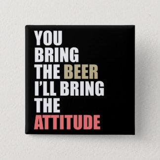 Badge Carré 5 Cm Bière, attitude
