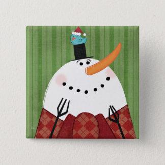 Badge Carré 5 Cm Bonhomme de neige de Noël avec l'oiseau de chant