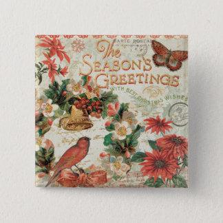 Badge Carré 5 Cm Bonnes Fêtes vintages de Noël