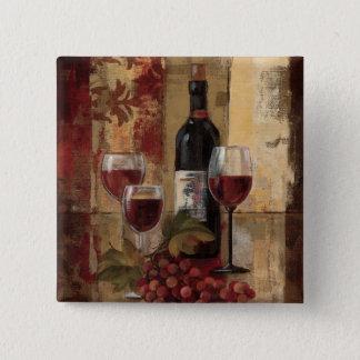 Badge Carré 5 Cm Bouteille de vin et verres de vin