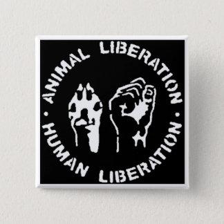 Badge Carré 5 Cm Bouton animal de libération
