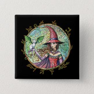 Badge Carré 5 Cm Bouton blanc de Pin de chat de sorcière de