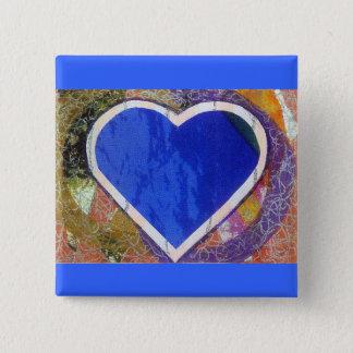 Badge Carré 5 Cm Bouton bleu de coeur