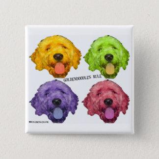 Badge Carré 5 Cm Bouton de carré de règle de Goldendoodles