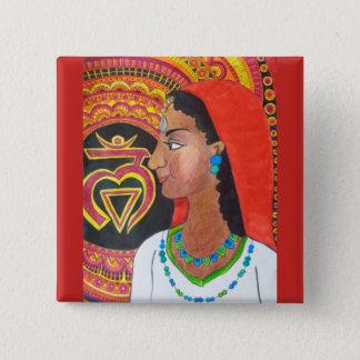 Badge Carré 5 Cm Bouton de Chakra de racine (fuite)