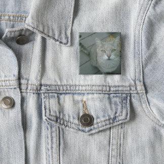 """Badge Carré 5 Cm Bouton de chat de """"M. Lover"""""""