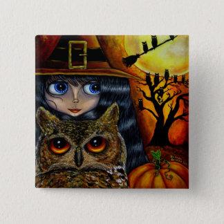 Badge Carré 5 Cm Bouton de Halloween de sorcière de hibou