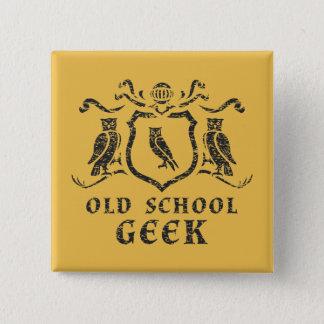Badge Carré 5 Cm Bouton de hibou de geek de vieille école