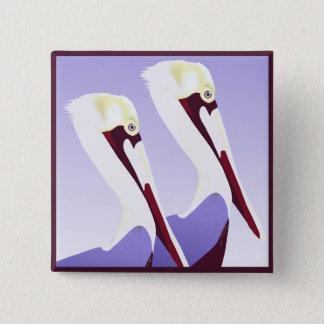 Badge Carré 5 Cm Bouton de pélicans de pélican