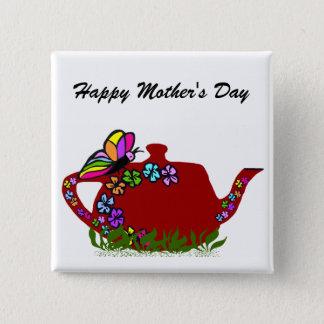 Badge Carré 5 Cm Bouton de pot de thé de fleurs de papillon