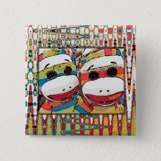 Badge Carré 5 Cm Bouton de singe de chaussette
