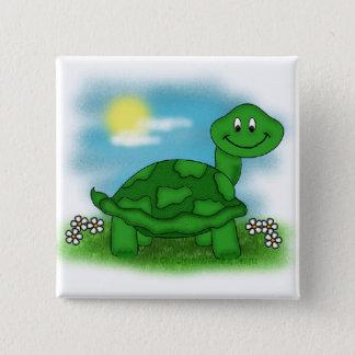 Badge Carré 5 Cm Bouton de tortue